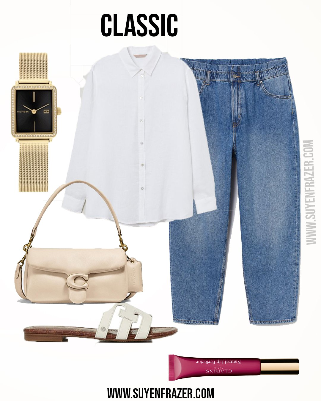 Plus Size Classic Outfit, Mom Jeans & Linen Shirt